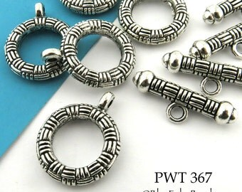 20mm Decorative Pewter Clasp Pewter Toggle Antiqued Silver (PWT 367) 3 sets BlueEchoBeads