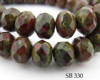 8mm Picasso Czech Glass Beads Faceted Rondelle, Old Brick (SB 330) 12 pcs BlueEchoBeads