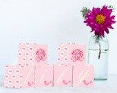 Pink Roses Name Blocks, Nursery Decor, Nursery Name Personalized Wooden Blocks