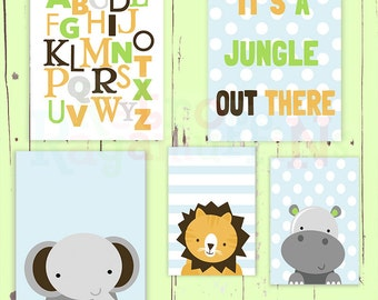 Jungle Alphabet Word Nursery Art  Print Set Baby Boy Room Decor