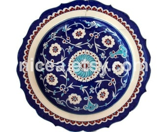 Iznik Pottery Dish with Central Rosette - Handmade - Home Decor