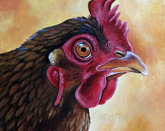 Chicken Red Rock rooster hen chicken original painting fine art
