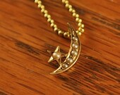 14K Gold and Seed Pearl Victorian Era Stick Pin Turned Pendant
