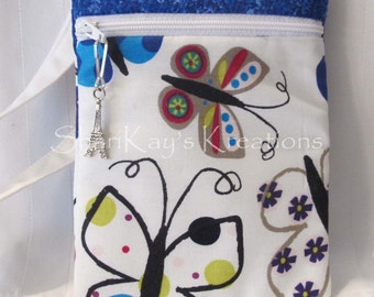 SALE - Blue Butterfly Hipster Purse with Shoulder Strap and Zipper Pull