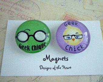 Round Glass Magnet Set - Geek Chick