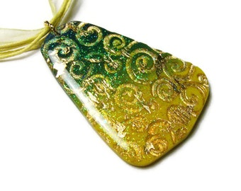 Resin Pendant Necklace Embossed Polymer Clay Art Pendant Jewelry Gold Leaf Fine Glitter Yellow Ribbon Cotton Cord