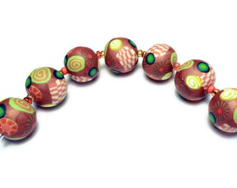 "Handmade Beads Polymer Clay Set of Seven Round Gold Metallic Pantone Koi Green Yellow Canework Inlays 1/2"" 12 mm Jewelry Supplies"