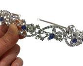 Something Blue Hair Tiara, Bridal Halo, Floral Crown, Vines Tiara, Crystal Headpiece, Grecian Leaves Crown, ADORNA BLUE