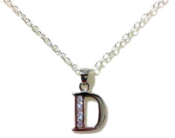 Letter D Initial Necklace, Bridal Necklace, Alphabet Jewelry, Sterling Silver, Personalized Jewelry