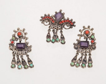 Matl Style - Pre Eagle Taxco Mexico Sterling Demi - Brooch /Pin & Screwback Earrings - 30s 40s  - Amethyst Turquoise Coral