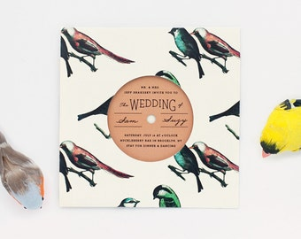 Bird Pattern Record with Sleeve Invitation