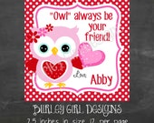 OWL Always be Your Friend Hoot Owl Favor Tags - DIY - Digital File - Valentine's Day Tag