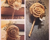 Burlap Rosette and Vintage Book Page Flower Boutonniere - Made to Order - Rustic Wedding