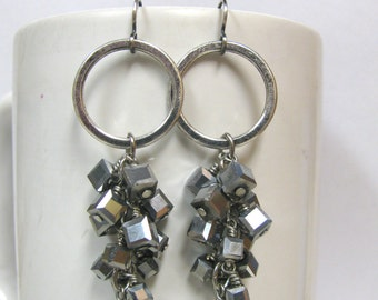 Sparkly Silver Cube and Hoop Cluster Earrings