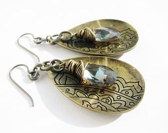 Exotic Antique Brass Teardrops with bronze Swarovski Crystals