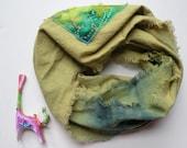 Women's scarf: infinity circle applique, loop eternity tribal fashion, cotton green teal blue tie dye batik, rustic boho Bohemian Lhasa i404