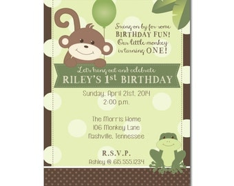 Monkey and Frog Birthday Invitation PRINTABLE PDF ONLY