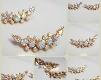 Vintage Aurora Borealis Gold Toned Brooch set of 2