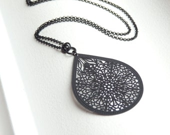 INDIA Matte Black Long Necklace