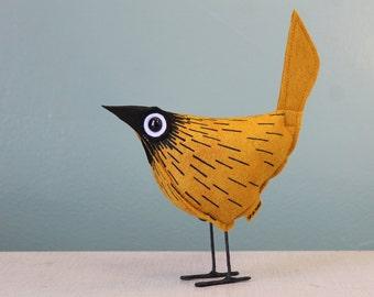 Wool Felt Pip Bird - Comet Gold