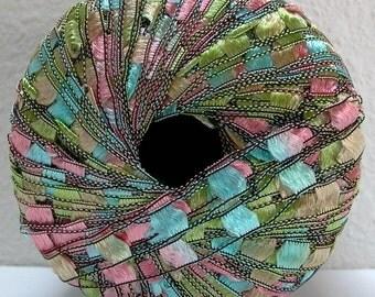 italian ladder ribbon yarn . maxi railroad trellis novelty yarn . 1 skein 98yds . touch of spring salmon pink robin's egg blue apple green