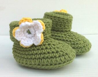 Green Baby Booties Flower Crochet Girl Newborn