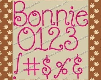 Bonnie Embroidery Font 4 Sizes