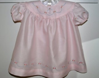 Beautiful Embroidered Satin Batiste Baby Dress in Size 12 Months
