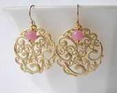 Pink and Gold Dangle Earrings eco-friendly jewelry valentine