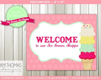 Ice Cream Party - Printable Signs - Welcome & Happy Birthday - Printable Decorations - Instant Download - Item 131