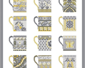 Cross stitch pattern GREY CUPS - yellow,grey wall art,embroidery pattern,needlepoint,scandinavian,diy,hand embroidery,Anette Eriksson Design
