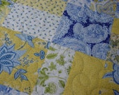 "Queen Size Quilt, Blue and Yellow Patchwork quilt, 88""x101"", Blue and Yellow Queen size quilt, Queen size patchwork, machine quilted"