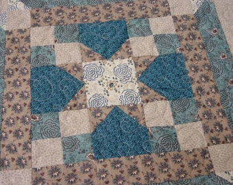 """Teal and Brown Quilt, 67""""x67"""", Square Quilt, fits top of Queen Size, teals, browns, tans, machine quilted"""