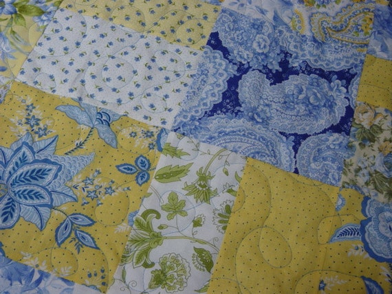 Queen Size Quilt Blue And Yellow Patchwork Quilt