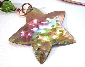 Copper Starfish Bookmark, Primitive Rustic Metalwork, Green Leaves, Gift for Bookworm, Nautical Beach Theme, Book Lover Beach Comber Present