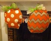Polka dot burlap pumpkin