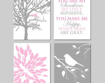 Baby Girl Nursery Art - Birds in a Tree, You Are My Sunshine, Abstract Floral, Bird on Branch - Set of Four 11x14 Prints  CHOOSE YOUR COLORS