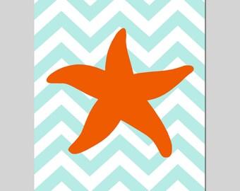 Chevron Starfish - 11x14 Bathroom Art Print - Kids Wall Art - Nautical Nursery - CHOOSE YOUR COLORS