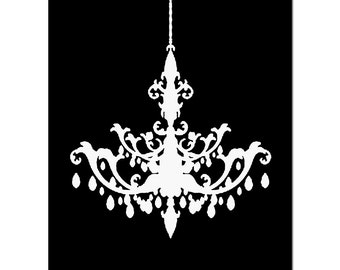 Chandelier - 8x10 Print - Modern Chandelier Silhouette - CHOOSE YOUR COLORS - Shown in Black, Gray, and More