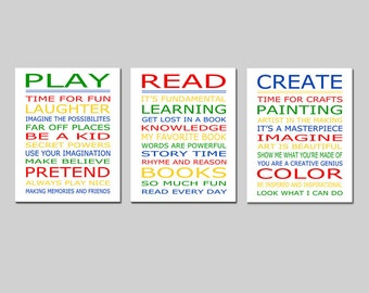Playroom Rules PLAY READ CREATE Set - Kids Wall Art Trio - Set of Three 8x10 Nursery Art Prints - Choose Your Colors