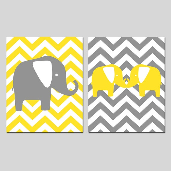 Chevron Elephant Duo - Set of Two 11x14 Nursery Prints - Kids Wall Art - Children - CHOOSE YOUR COLORS - Shown in Gray, Yellow, and More