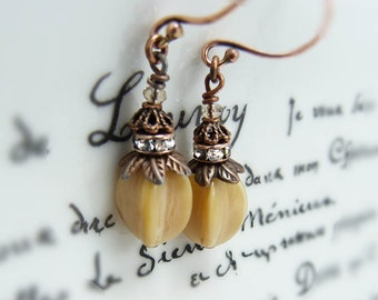 Cream Seed Pod earrings- crystal Czech glass dangle