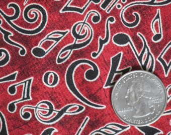 """RJR Perfect Pitch 100% Cotton Print by Dan Morris 2011 45"""" wide BTY Musical Notes G Clefts Sharps Red"""