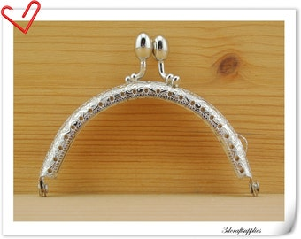 purse frame,8.5cm, silver olivary bobble  (purse frame wholesale) B43