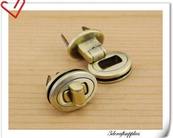 15mm x 20mm ( 5/8 inch x 3/4 inch ) Purse lock  twist  purse turn lock clutch clock  bag lock Anti bronze N29