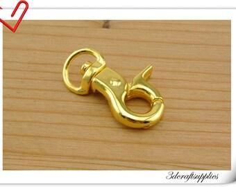 3/8 inch 10mm (eye size ) Heavy duty gold purse hook lobster Claw Hooks Straps hooks  12 pieces AC124