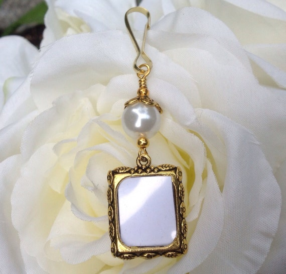 wedding bouquet photo charm in antique gold tones memorial photo