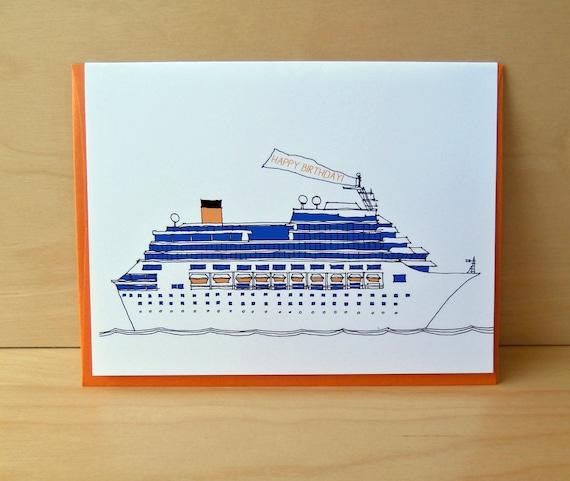 SALE Cruise Ship Birthday Card By Rachelink On Etsy