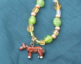 """Markdown Sale...Sculpted Clay HORSE BAY Standing Glass and Wood Beaded Necklace OOAK 19 1/2"""""""