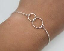 Two Entwined Tiny Circles Sterling Silver Bracelet - Eternity Bracelet - Karma Bracelet